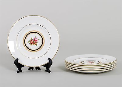 """Set of 6 Wedgwood CLIO Bread & Butter Plates Fine China 6"""" Floral Center Gold"""