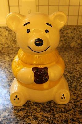 Vintage Metlox Teddy Bear Cookie Jar Wearing Yellow Sweater & Eating Choc Cookie