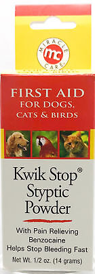 Kwik Stop Styptic Powder with Benzocaine Bleed Stop for Pets 1/2oz (14 Gram)