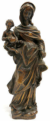 Madonna with Child Jesus Christ, Antique, Wood Statue