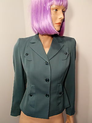 "True Vtg 1940s Tailored Blazer Ladies WWII Styled Jacket wool gabardine 32"" XS"