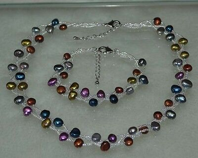 Wholesale 10 sets 7-8 mm mix nugget pearl necklace and bracelets