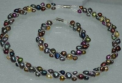 Wholesale 10 sets 5-6mm magnetic mix Freshwater pearl necklace bracelet