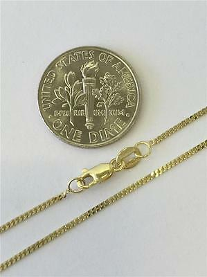 """14K 16"""" 18"""" 20"""" Inch 1mm Solid Yellow Gold Cuban Curb Chain Pendant Necklace"""