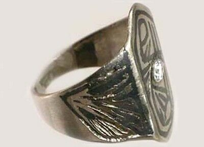 Antique 19thC Russia Ukraine CrimeanTartar Silver Etched Enamel Niello Ring Sz8