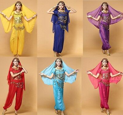 Bollywood India Belly Dance Costume set Top+Pants+Belt +Veil Womens Dress up set