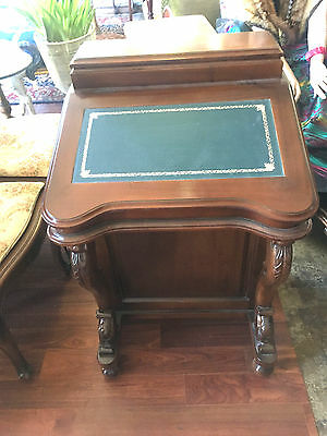 Supurb Antique Style Mahogany Carved Davenport Writing Desk With 8 Side Drawers