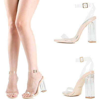 Transparent Clear Open Toe Ankle Strap Lucite Block Chunky High Heel Pump Sandal