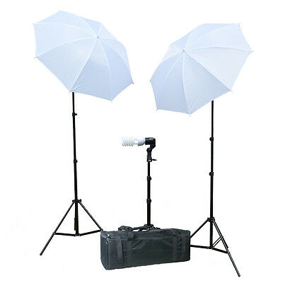 Photo White Soft Umbrella Continuous Lighting Bulb Photography Light Stand Kit