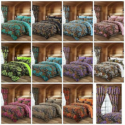 Kids Camo Bedding Boys Comforter Sets Girls Sheets Adults Teens Bedroom Curtain