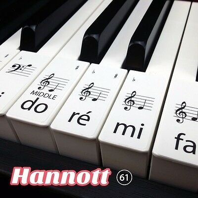 Solfège Keyboard / Piano Stickers SET up to 61 KEYS the best way to learn Piano