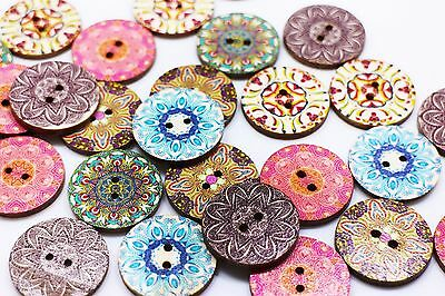 Bohemian Pattern Wooden Buttons Hippie BOHO Ethnic Large Two Holes 25mm 20pcs