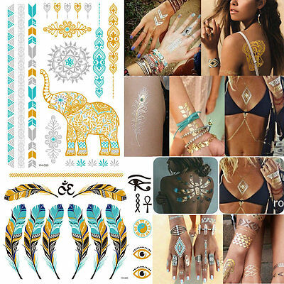 10 pcs Gold Silver Metallic Temporary Tattoos stickers Temporary Body Art Tattoo