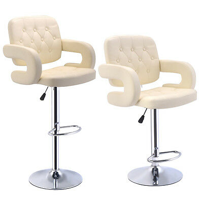 2 X Faux Leather Kitchen Breakfast Bar Stool Pub Swivel Barstools Dining Chairs