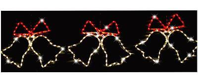 3 Piece Red & Warm White Led Christmas Bells Rope Light 165x55cm Xmas Decoration