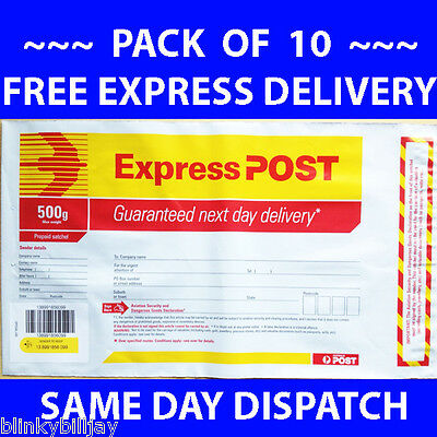 EXPRESS POST 500gm 500g 500gram PREPAID SATCHELS PACK OF 10 FREE DELIVERY