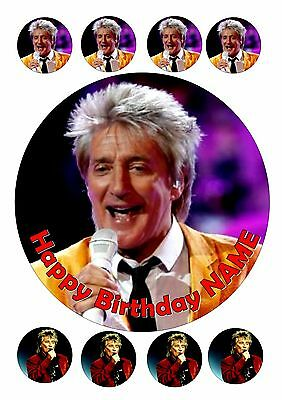 "Rod Stewart Birthday Cake  Round Edible Iced Icing 7.5"" + 8 Cupcake Toppers"