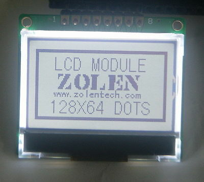 12864 128x64 Serial SPI Graphic COG White LCD Display Module LCM w/ ST7565P 5V