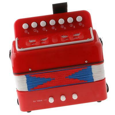 7 Keys Kids Button Accordion Musical Instrument Educational Toy Gifts Red