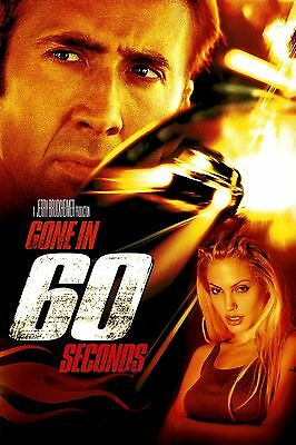 GONE IN 60 SECONDS 2000 Movie Silk Poster Nicolas Cage, Angelina Jolie