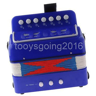 7 Keys Kids Button Accordion Musical Instrument Educational Toy Gifts Blue