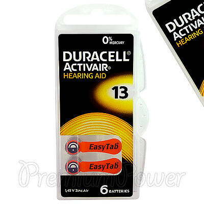 Duracell Activair Hearing Aid 13 Size batteries Zinc air x 6 - 60 /120 cells