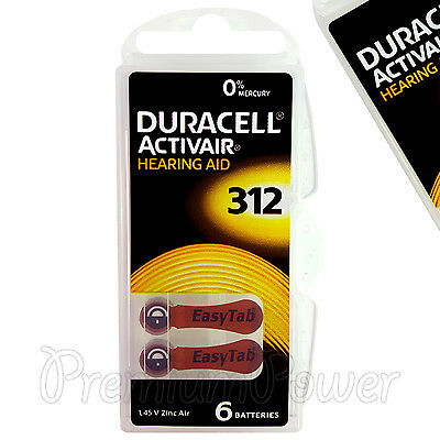 Duracell Activair Hearing Aid 312 Size batteries Zinc air x 6 - 60/120 cells