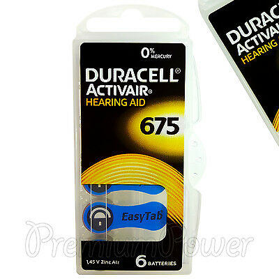 Duracell Activair Hearing Aid 675 Size batteries Zinc air x 6 - 60/120 cells