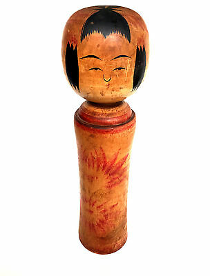 "JAPANESE NARUGO KOKESHI Antique Wood Doll Hand Painted HUGE 14.5"" H"