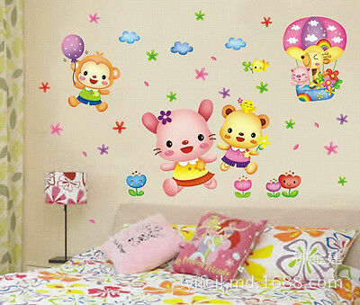 Cute Cartoon Rabbit Monkey Balloon Animal Wall Sticker Decal for Baby Room Decor