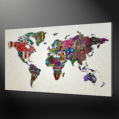 Abstract Colourful Map Of The World Canvas Wall Art Picture Print