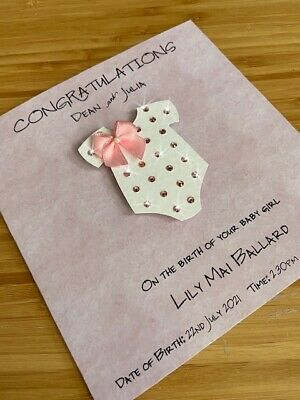 Personalised New Baby Boy Card Handmade Congratulation Blue Grow Bow Custom UK