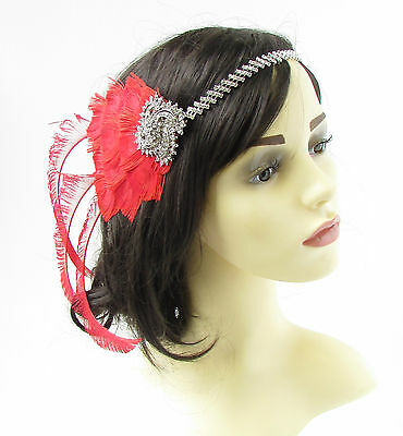 Red Silver Peacock Feather Headband 1920s Flapper Headpiece Great Gatsby Vtg 754