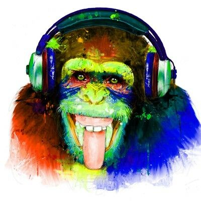 CHEEKY MONKEY HEADPHONES MUSIC ABSTRACT Canvas Box or Poster Print Wall Art