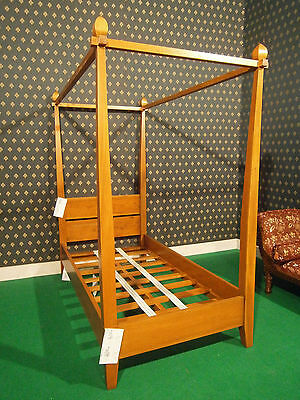 "Single or Double 4'6"" size mahogany simple Natural wlanut finish Four poster Bed"
