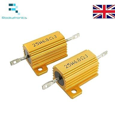25W Golden Aluminium Load Resistor Wirewound Various Values - High Quality New