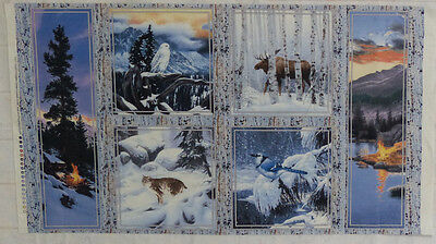 Last Light Wilderness Fabric Panel Snow Sunset Moose Owl Blue Jay  Bobcat SSI