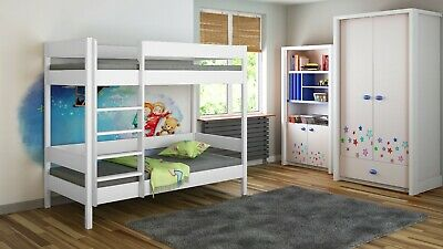 Kids Children Juniors Bunk Bed+Mattress 140x70/160x80/180x80/180x90/200x90