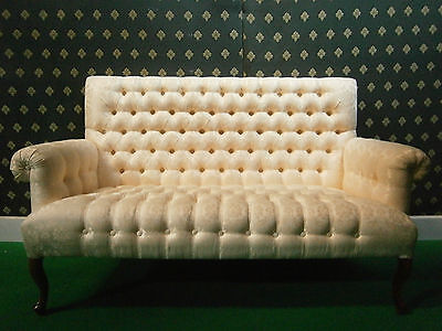 2~ 3 seater sofa ,Mahogany wood and Ivory Gold Fabric chesterfield style buttons