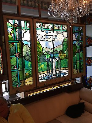Amazing Antique Stainglass Landing Window Of Fountain