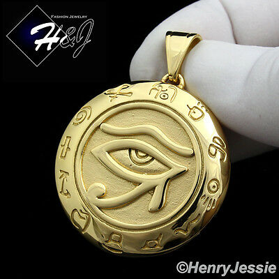 MEN's Stainless Steel HEAVY Gold Egyptian Eye of Horus Round Charm Pendant*GP92