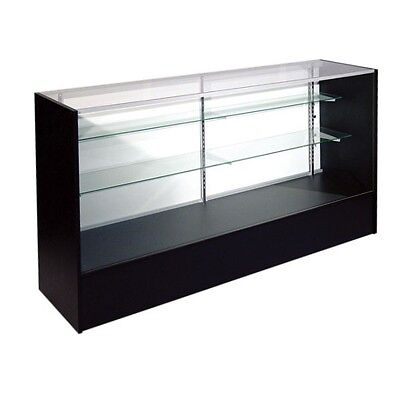 Item#sc4B 4 Foot Full Vision Black Retail Glass Display Case Showcase Will Ship