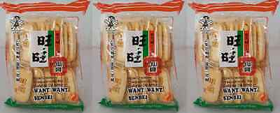 3x Hot Kid Want Want Senbei Rice Crackers 112g Snack Vegetarian