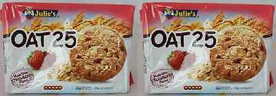 2x Julie's Oat 25 Healthy Biscuit  With Strawberry Pieces 200g Vegetarian Halal