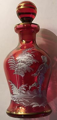 Antique Vintage MARY GREGORY Hand Painted Cranberry Art Glass Vase Nice Decanter