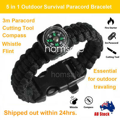 5 in1 Outdoor Survival Bracelet Paracord Whistle Gear Flint Compass Tools Kit OZ
