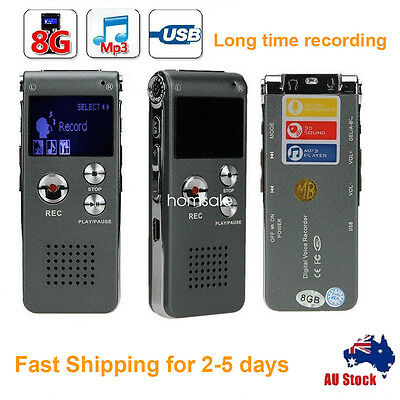 8G Rechargeable Digital Audio Voice Recorder USB Telephone Dictaphone MP3 Player