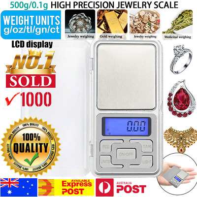 Pocket Digital Jewelry Scale Weight 500g x 0.1g Balance Electronic Gram Mini LCD