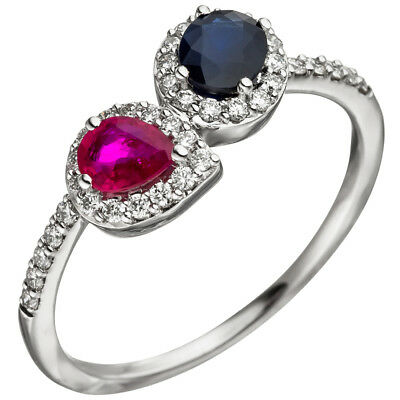 Damen Ring 585 Gold Weißgold 38 Diamanten Brillanten 1 Rubin rot 1 Safir blau