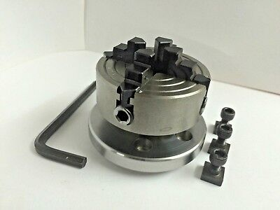 """High Precision 70 mm 4 Jaw Chuck+Back plate for 3""""(75 mm) & 4""""(100) rotary table"""